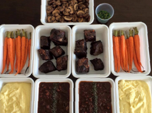 Deconstructed Cabernet Braised Grass Fed Beef Ribs Roasted Organic Carrots Silky Mashed Organic Yukon Gold Potatoes