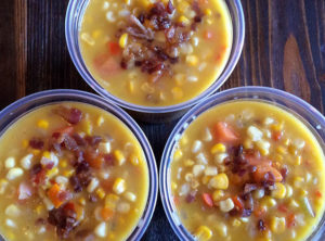 Organic Corn and Coconut Chowder with Bacon