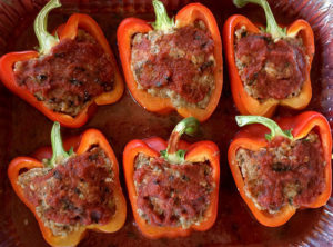 Organic Bell Peppers stuffed with Grass Fed Beef Pastured Pork and Organic Brown Rice