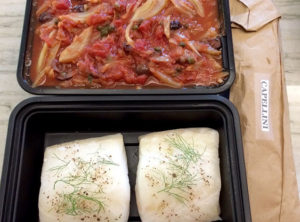 Braised Chilean Sea Bass Sourced from Patagonia With Provencale Sauce and Organic Cappellini Pasta