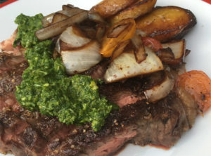 Grilled NY Strip Steak With Chimichurri Sweet Plantains