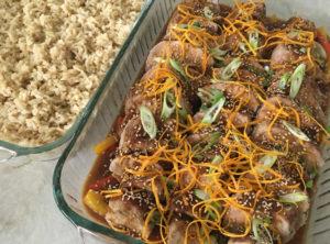 OG Scratch Orange Teriyaki Pork Tenderloin Organic Bell Peppers Organic Brown Rice