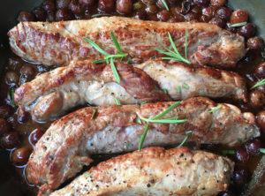Pastured Pork Tenderloin with Honey and Wine Roasted Organic Red Grapes