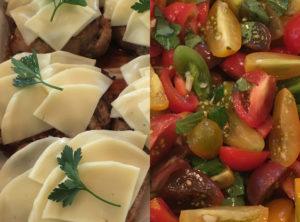 Grilled Pastured Pork Heirloom Tomato Bruschetta with Provolone