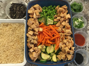 Scratch Organic Chicken Veggie Teriyaki Bowl with Garnishes