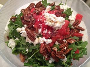 Organic Arugula Watermelon and Feta Salad