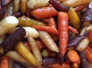 Organic Roasted Rainbow Carrots with Orange and Maple